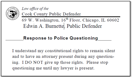 Cook County Response to Police Questioning
